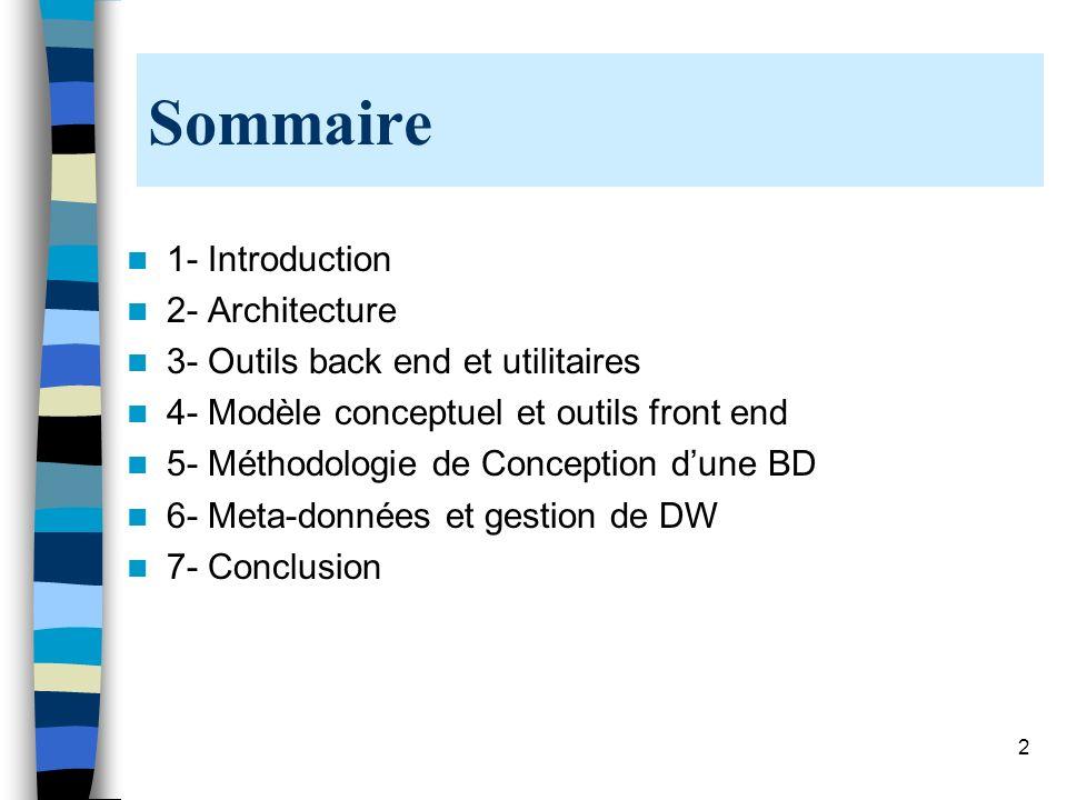 2 Sommaire 1- Introduction 2- Architecture 3- Outils back end et utilitaires 4- Modèle conceptuel et outils front end 5- Méthodologie de Conception du