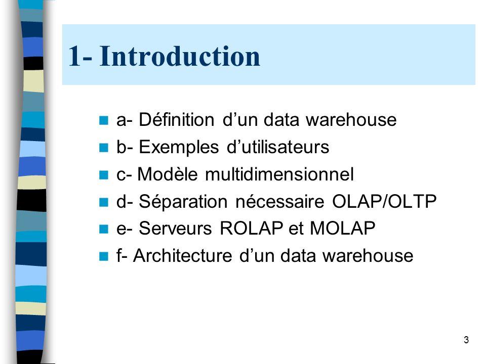 3 1- Introduction a- Définition dun data warehouse b- Exemples dutilisateurs c- Modèle multidimensionnel d- Séparation nécessaire OLAP/OLTP e- Serveur