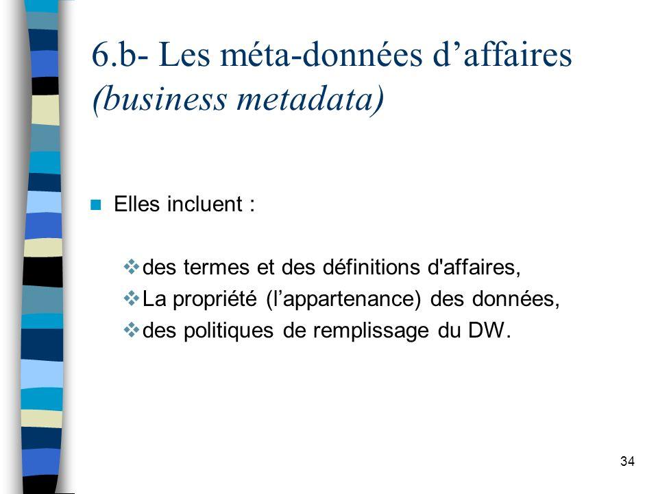 34 6.b- Les méta-données daffaires (business metadata) Elles incluent : des termes et des définitions d'affaires, La propriété (lappartenance) des don