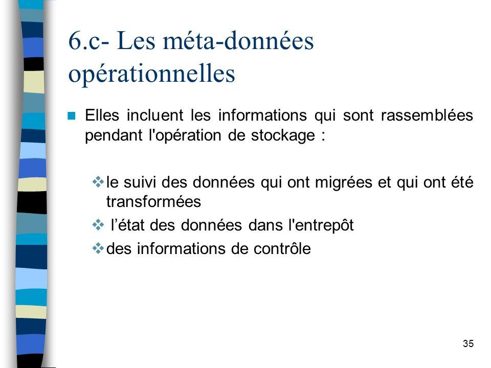 35 6.c- Les méta-données opérationnelles Elles incluent les informations qui sont rassemblées pendant l'opération de stockage : le suivi des données q