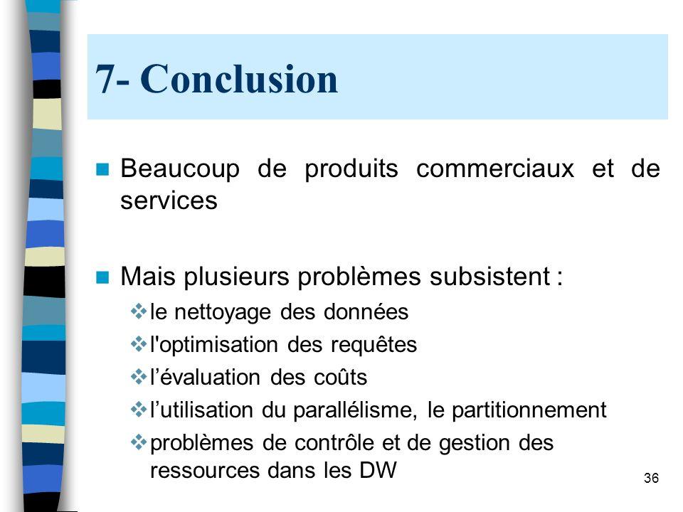 36 7- Conclusion Beaucoup de produits commerciaux et de services Mais plusieurs problèmes subsistent : le nettoyage des données l'optimisation des req