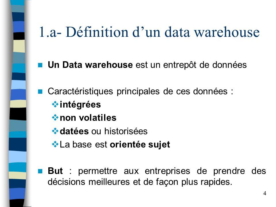 4 1.a- Définition dun data warehouse Un Data warehouse est un entrepôt de données Caractéristiques principales de ces données : intégrées non volatile