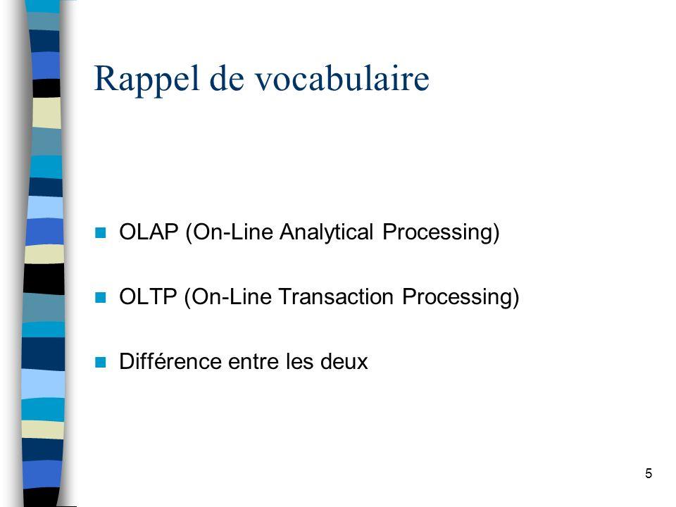 5 Rappel de vocabulaire OLAP (On-Line Analytical Processing) OLTP (On-Line Transaction Processing) Différence entre les deux