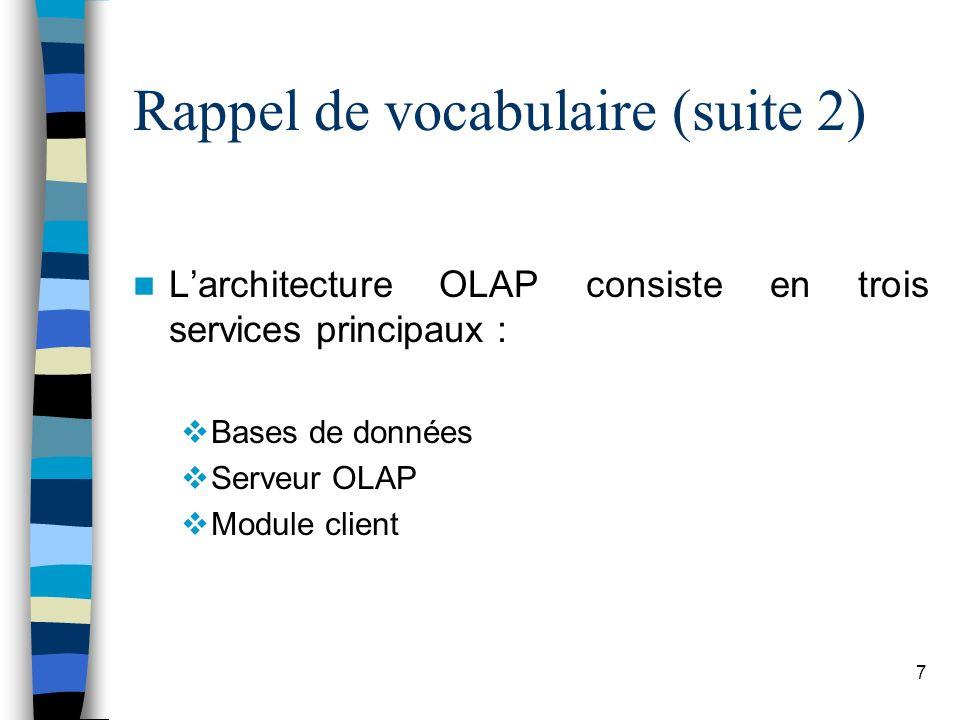 7 Rappel de vocabulaire (suite 2) Larchitecture OLAP consiste en trois services principaux : Bases de données Serveur OLAP Module client