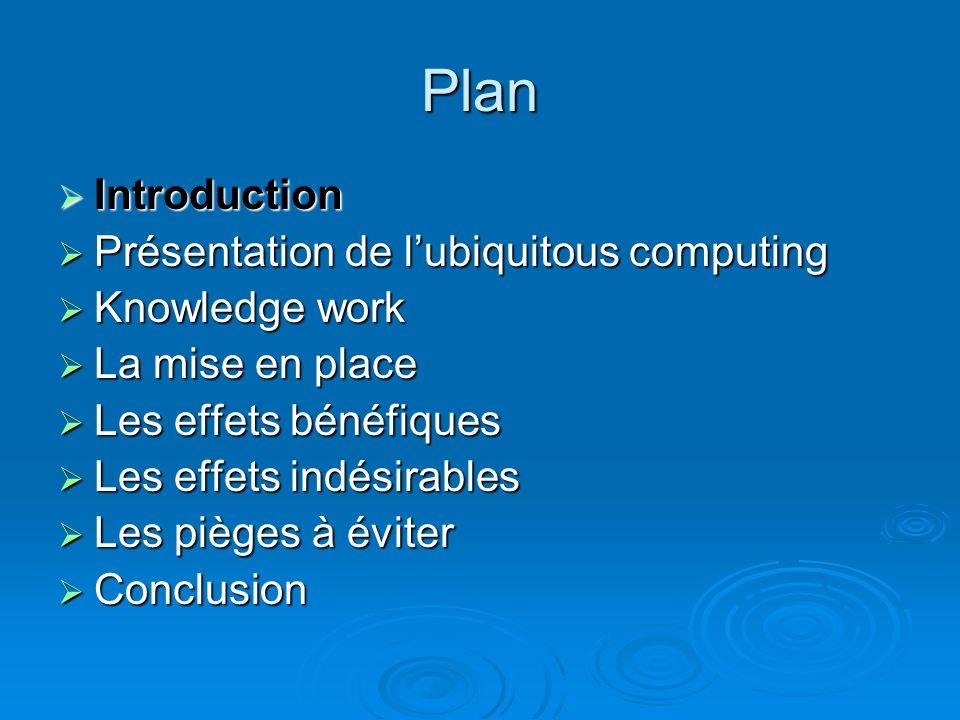 Plan Introduction Introduction Présentation de lubiquitous computing Présentation de lubiquitous computing Knowledge work Knowledge work La mise en pl