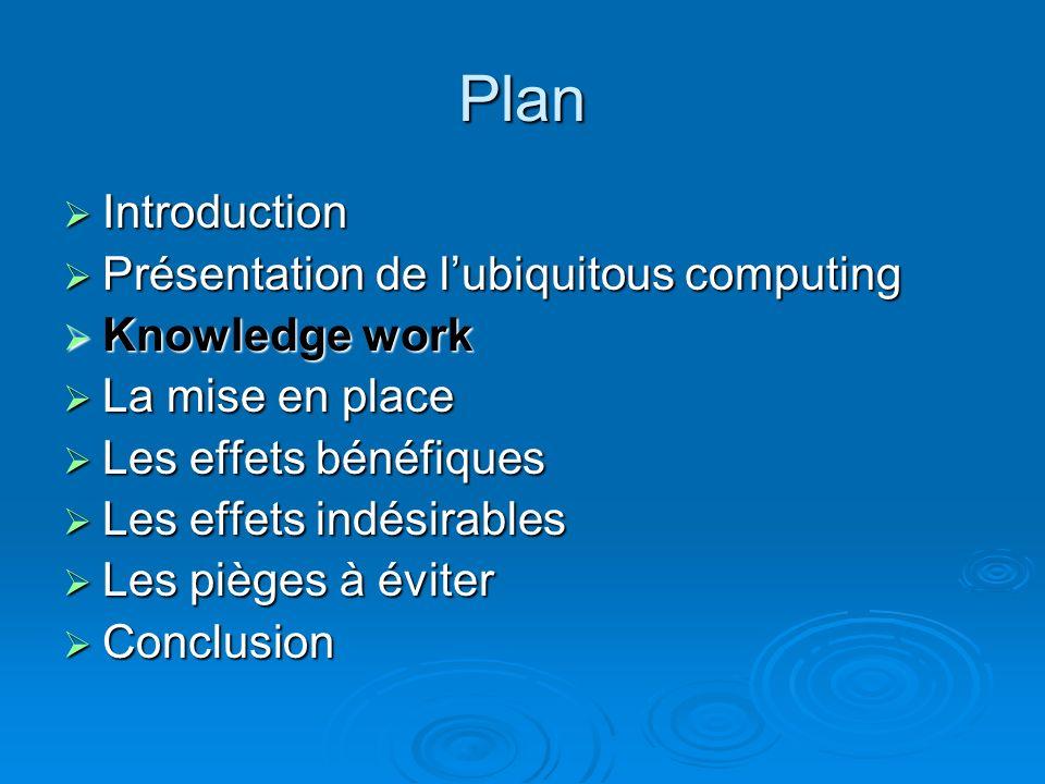 Lubiquitous computing Deux dimensions Deux dimensions Les principaux challenges Les principaux challenges En développement En développement