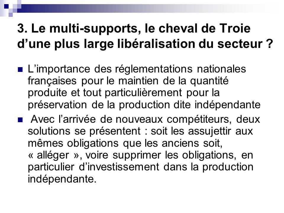 3. Le multi-supports, le cheval de Troie dune plus large libéralisation du secteur ? Limportance des réglementations nationales françaises pour le mai
