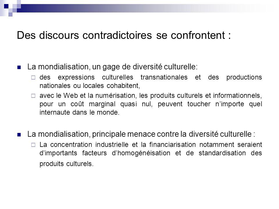 Des discours contradictoires se confrontent : La mondialisation, un gage de diversité culturelle: des expressions culturelles transnationales et des p