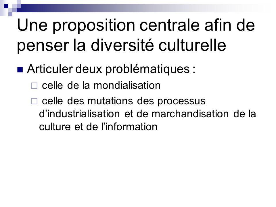 Une proposition centrale afin de penser la diversité culturelle Articuler deux problématiques : celle de la mondialisation celle des mutations des pro