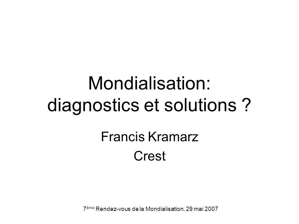 7 ème Rendez-vous de la Mondialisation, 29 mai 2007 Mondialisation: diagnostics et solutions .