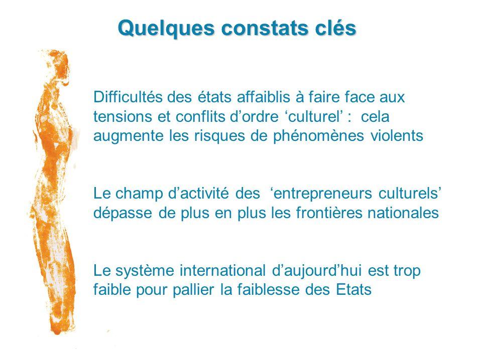 Quelques constats clés Difficultés des états affaiblis à faire face aux tensions et conflits dordre culturel : cela augmente les risques de phénomènes