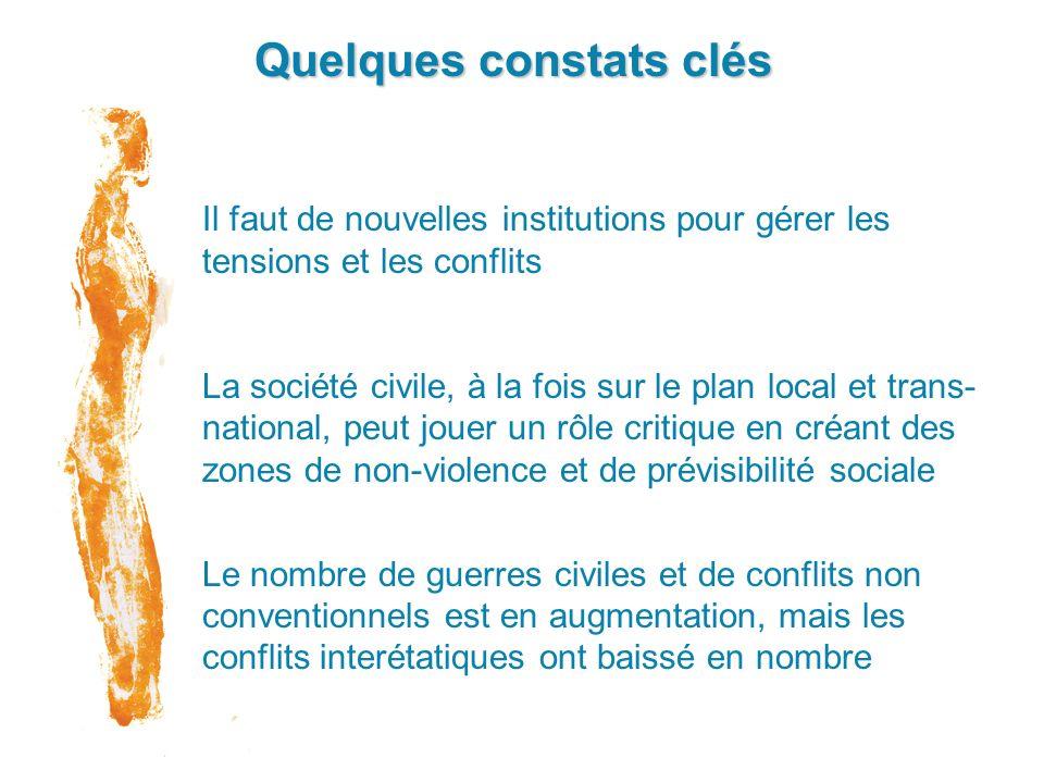 Quelques constats clés Il faut de nouvelles institutions pour gérer les tensions et les conflits La société civile, à la fois sur le plan local et tra