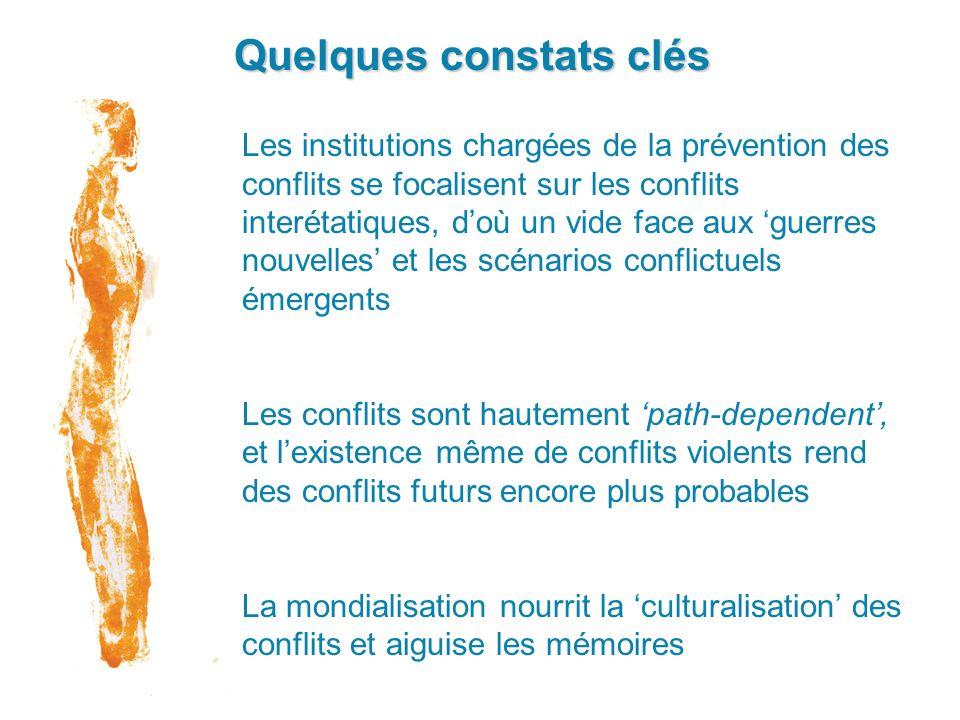 Quelques constats clés Les institutions chargées de la prévention des conflits se focalisent sur les conflits interétatiques, doù un vide face aux gue
