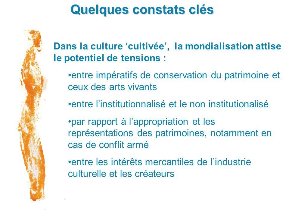 Quelques constats clés Dans la culture cultivée, la mondialisation attise le potentiel de tensions : entre impératifs de conservation du patrimoine et