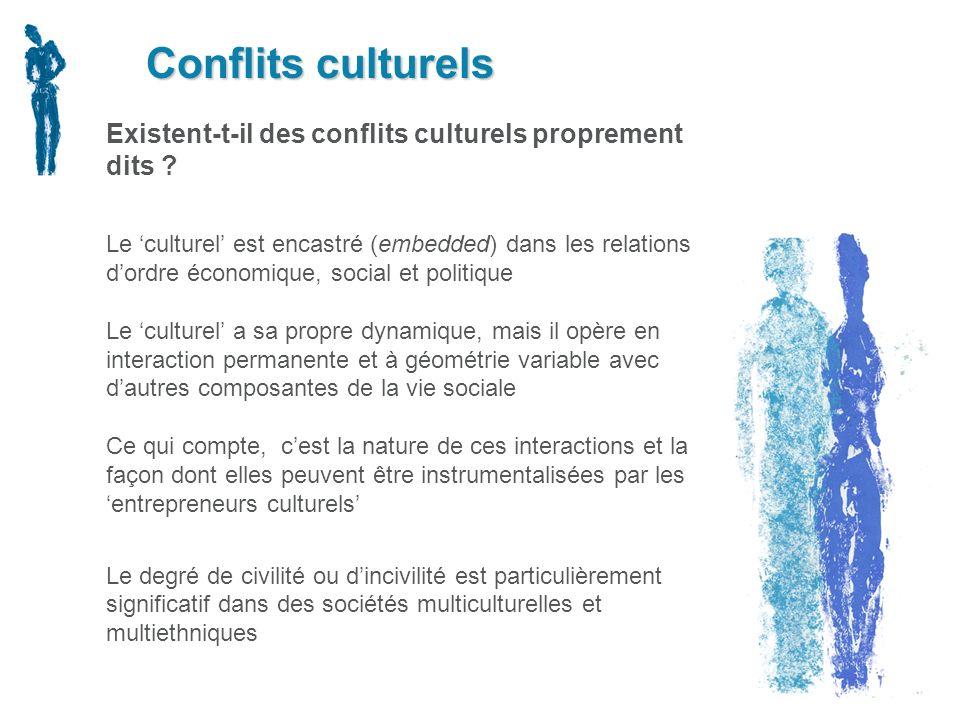 Conflits culturels Existent-t-il des conflits culturels proprement dits ? Le culturel est encastré (embedded) dans les relations dordre économique, so