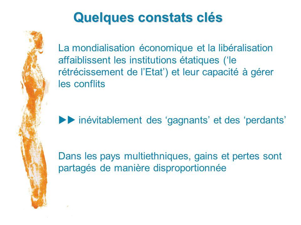 Quelques constats clés La mondialisation économique et la libéralisation affaiblissent les institutions étatiques (le rétrécissement de lEtat) et leur