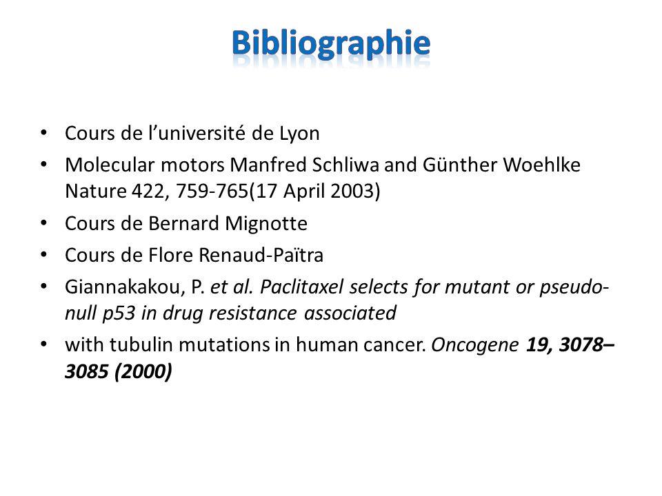 Cours de luniversité de Lyon Molecular motors Manfred Schliwa and Günther Woehlke Nature 422, 759-765(17 April 2003) Cours de Bernard Mignotte Cours d