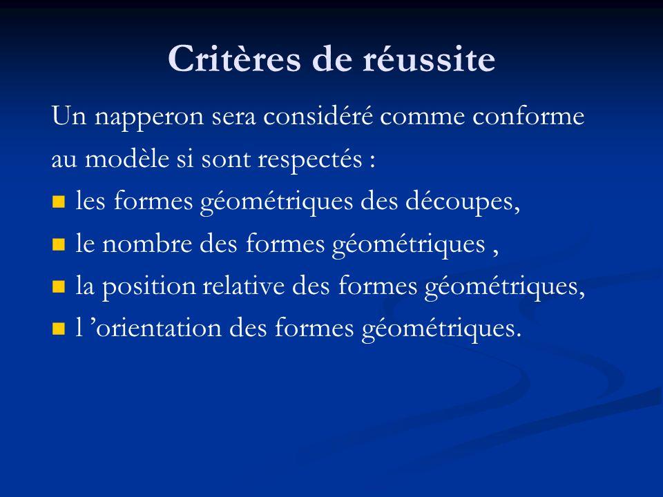 Critères de réussite Un napperon sera considéré comme conforme au modèle si sont respectés : les formes géométriques des découpes, le nombre des forme