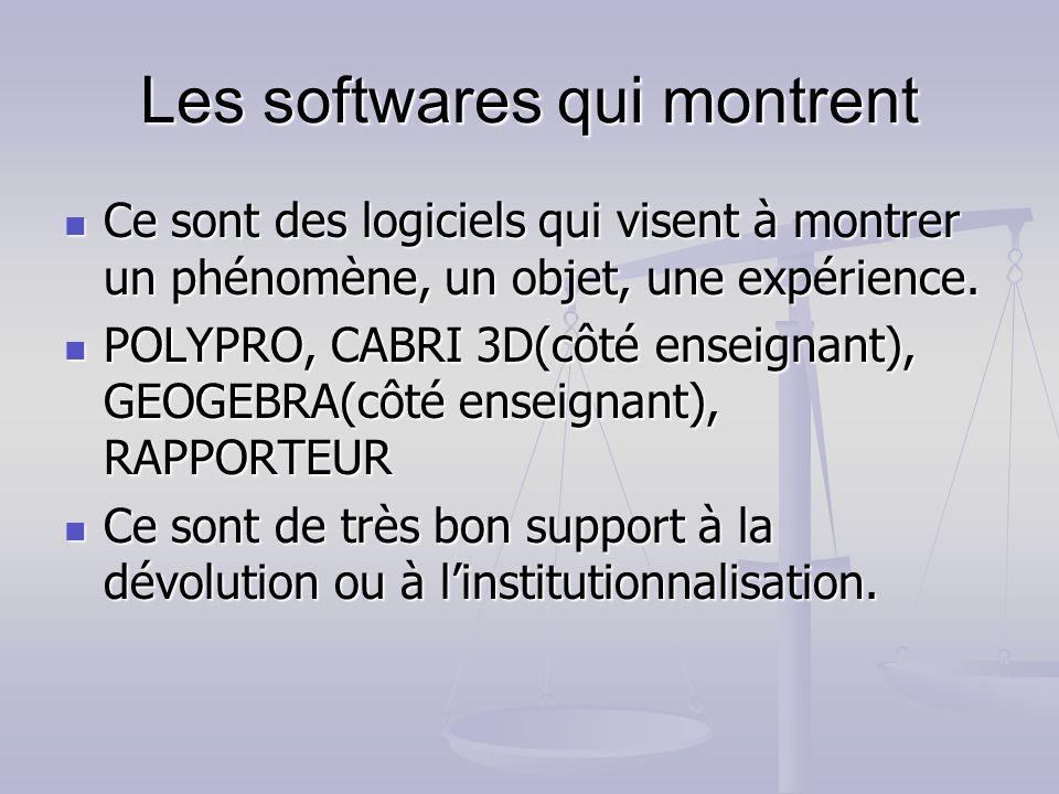 Les softwares qui montrent Ce sont des logiciels qui visent à montrer un phénomène, un objet, une expérience. Ce sont des logiciels qui visent à montr