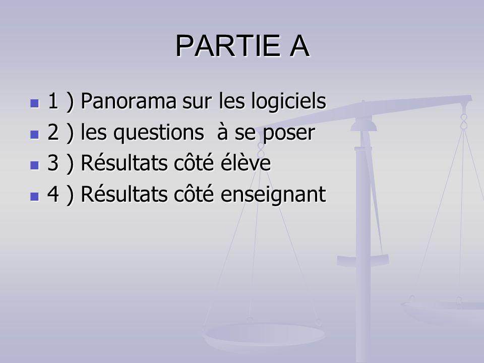 PARTIE A 1 ) Panorama sur les logiciels 1 ) Panorama sur les logiciels 2 ) les questions à se poser 2 ) les questions à se poser 3 ) Résultats côté él