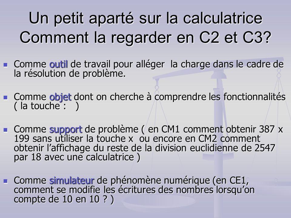 Un petit aparté sur la calculatrice Comment la regarder en C2 et C3? Comme outil de travail pour alléger la charge dans le cadre de la résolution de p
