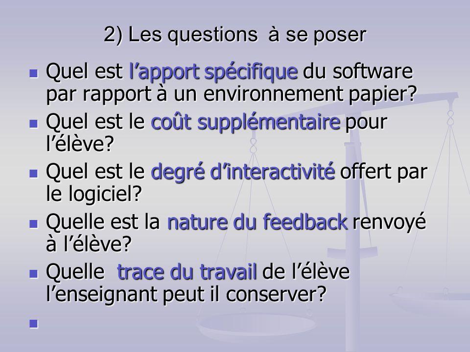 2) Les questions à se poser Quel est lapport spécifique du software par rapport à un environnement papier? Quel est lapport spécifique du software par