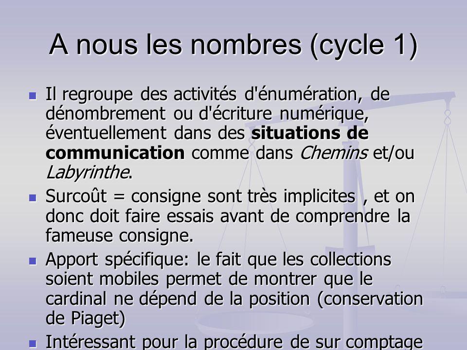 A nous les nombres (cycle 1) Il regroupe des activités d'énumération, de dénombrement ou d'écriture numérique, éventuellement dans des situations de c