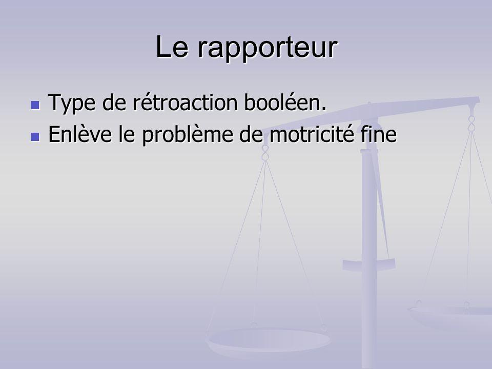 Le rapporteur Type de rétroaction booléen. Type de rétroaction booléen. Enlève le problème de motricité fine Enlève le problème de motricité fine