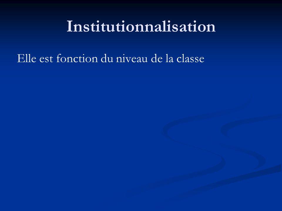 Institutionnalisation Elle est fonction du niveau de la classe