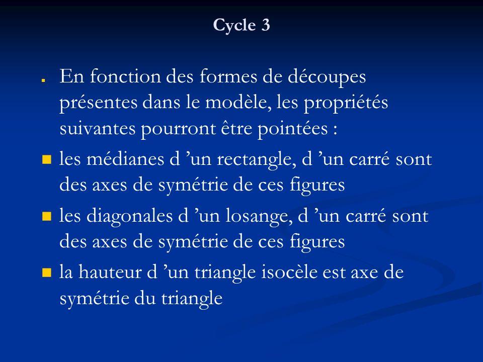 Cycle 3 En fonction des formes de découpes présentes dans le modèle, les propriétés suivantes pourront être pointées : les médianes d un rectangle, d