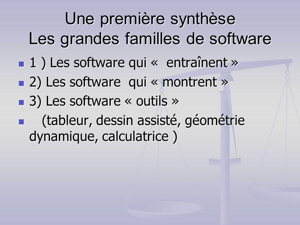 Une première synthèse Les grandes familles de software 1 ) Les software qui « entraînent » 1 ) Les software qui « entraînent » 2) Les software qui « m