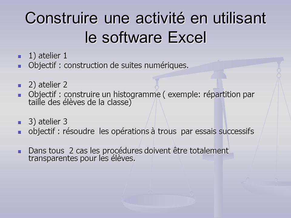 Construire une activité en utilisant le software Excel 1) atelier 1 1) atelier 1 Objectif : construction de suites numériques. Objectif : construction