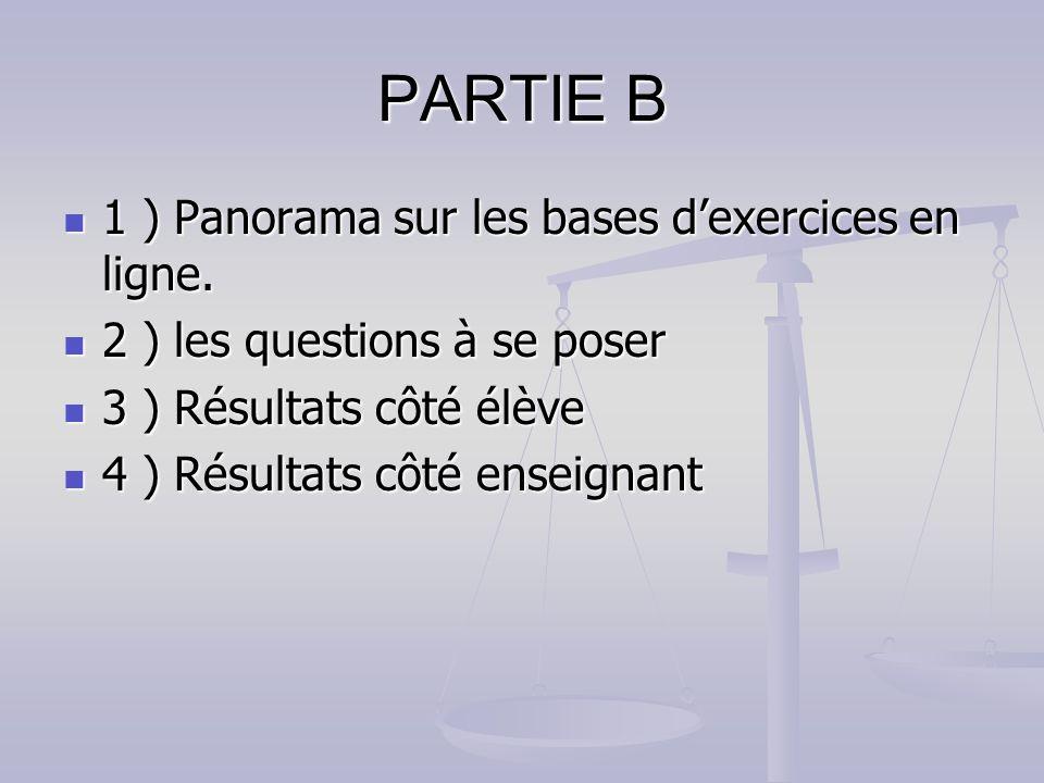 PARTIE B 1 ) Panorama sur les bases dexercices en ligne. 1 ) Panorama sur les bases dexercices en ligne. 2 ) les questions à se poser 2 ) les question