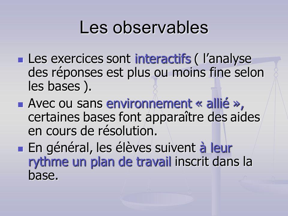 Les observables Les exercices sont interactifs ( lanalyse des réponses est plus ou moins fine selon les bases ). Les exercices sont interactifs ( lana