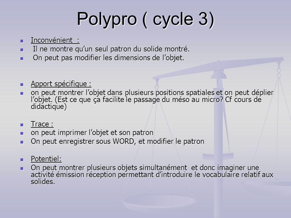 Polypro ( cycle 3) Inconvénient : Inconvénient : Il ne montre quun seul patron du solide montré. Il ne montre quun seul patron du solide montré. On pe