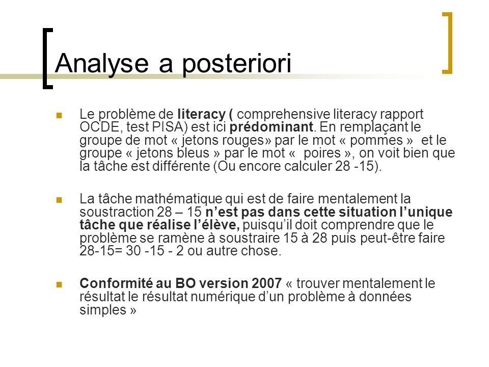 Analyse a posteriori Le problème de literacy ( comprehensive literacy rapport OCDE, test PISA) est ici prédominant. En remplaçant le groupe de mot « j