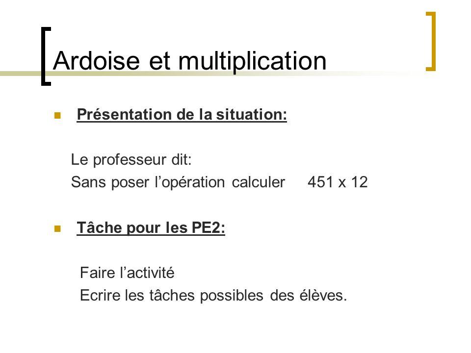 Ardoise et multiplication Présentation de la situation: Le professeur dit: Sans poser lopération calculer 451 x 12 Tâche pour les PE2: Faire lactivité