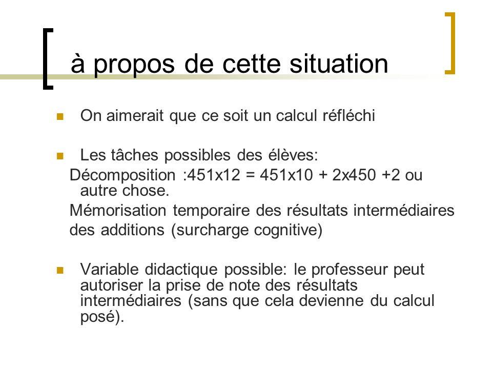 à propos de cette situation On aimerait que ce soit un calcul réfléchi Les tâches possibles des élèves: Décomposition :451x12 = 451x10 + 2x450 +2 ou a