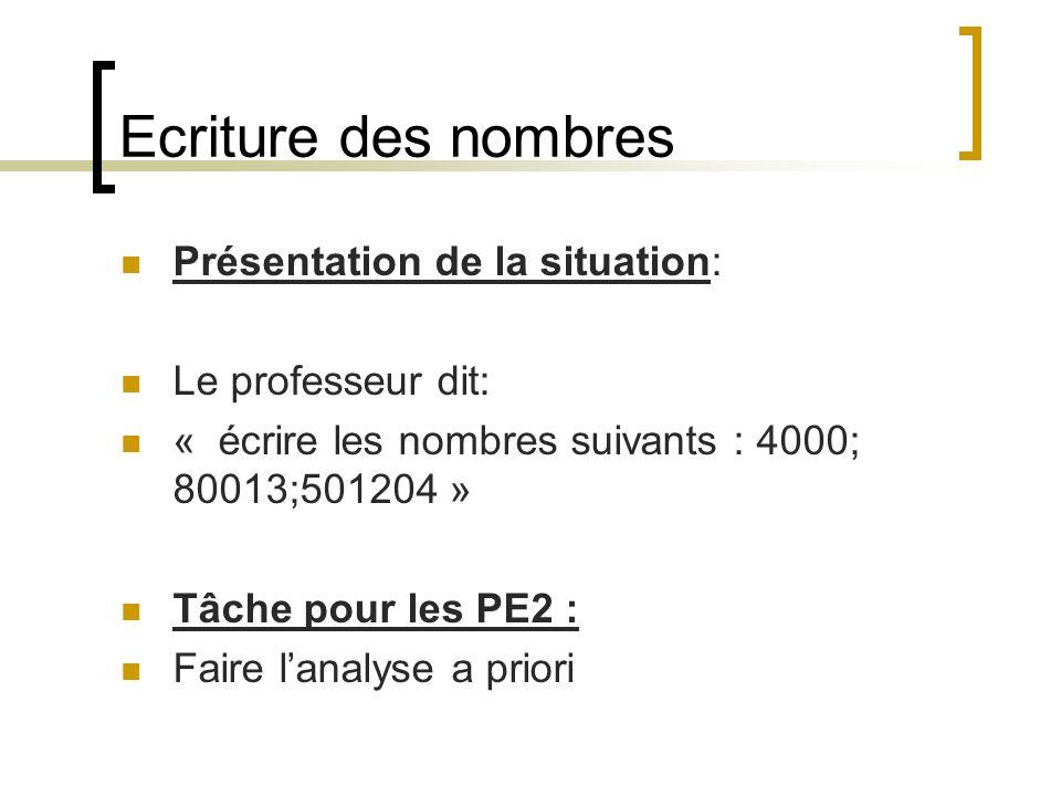 Ecriture des nombres Présentation de la situation: Le professeur dit: « écrire les nombres suivants : 4000; 80013;501204 » Tâche pour les PE2 : Faire
