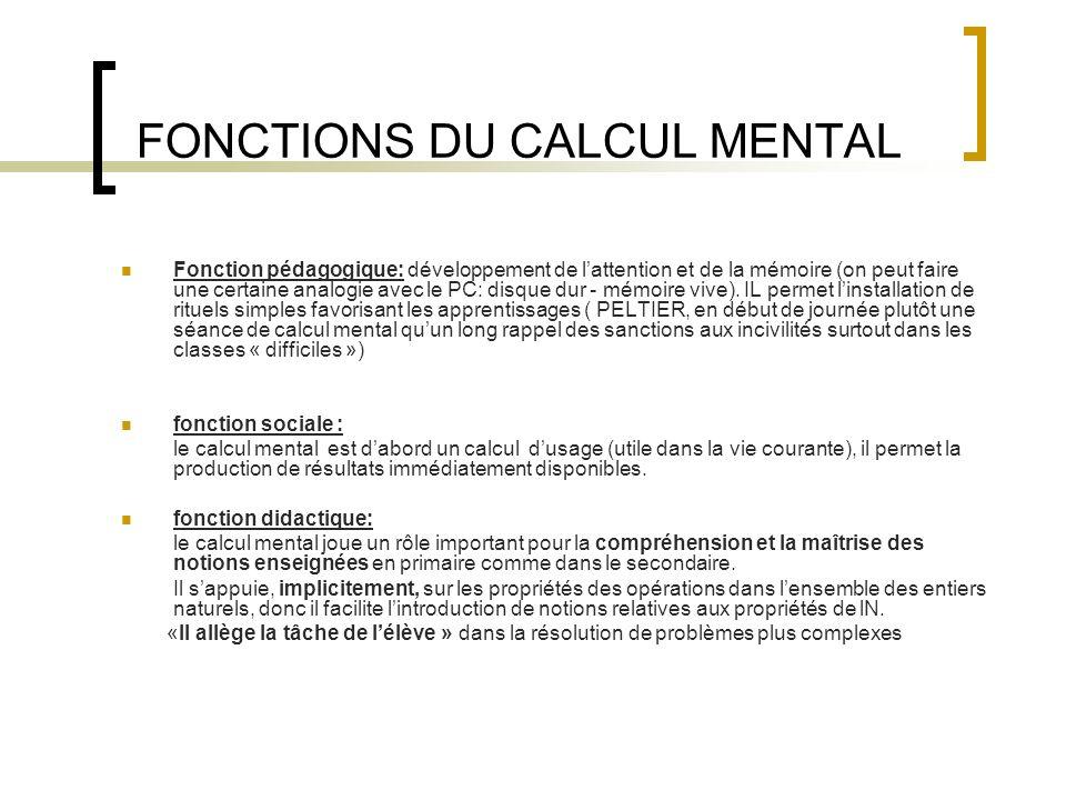 FONCTIONS DU CALCUL MENTAL Fonction pédagogique: développement de lattention et de la mémoire (on peut faire une certaine analogie avec le PC: disque