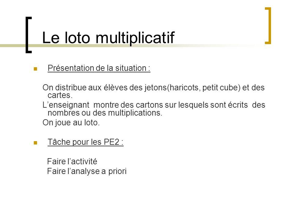 Le loto multiplicatif Présentation de la situation : On distribue aux élèves des jetons(haricots, petit cube) et des cartes. Lenseignant montre des ca