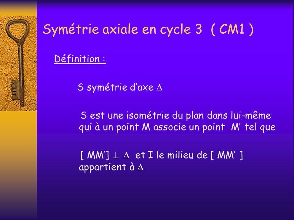Symétrie axiale en cycle 3 ( CM1 ) Définition : S symétrie daxe S est une isométrie du plan dans lui-même qui à un point M associe un point M tel que