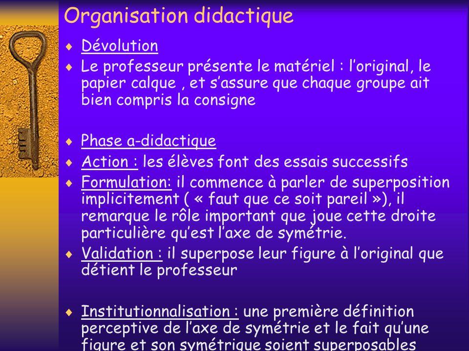 Organisation didactique Dévolution Le professeur présente le matériel : loriginal, le papier calque, et sassure que chaque groupe ait bien compris la