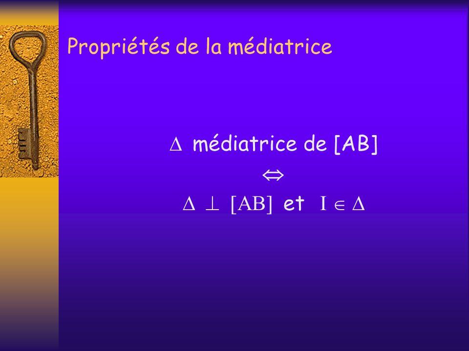 Propriétés de la médiatrice médiatrice de [AB] et