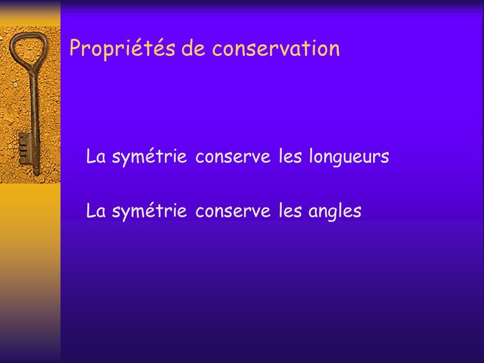 Propriétés de conservation La symétrie conserve les longueurs La symétrie conserve les angles