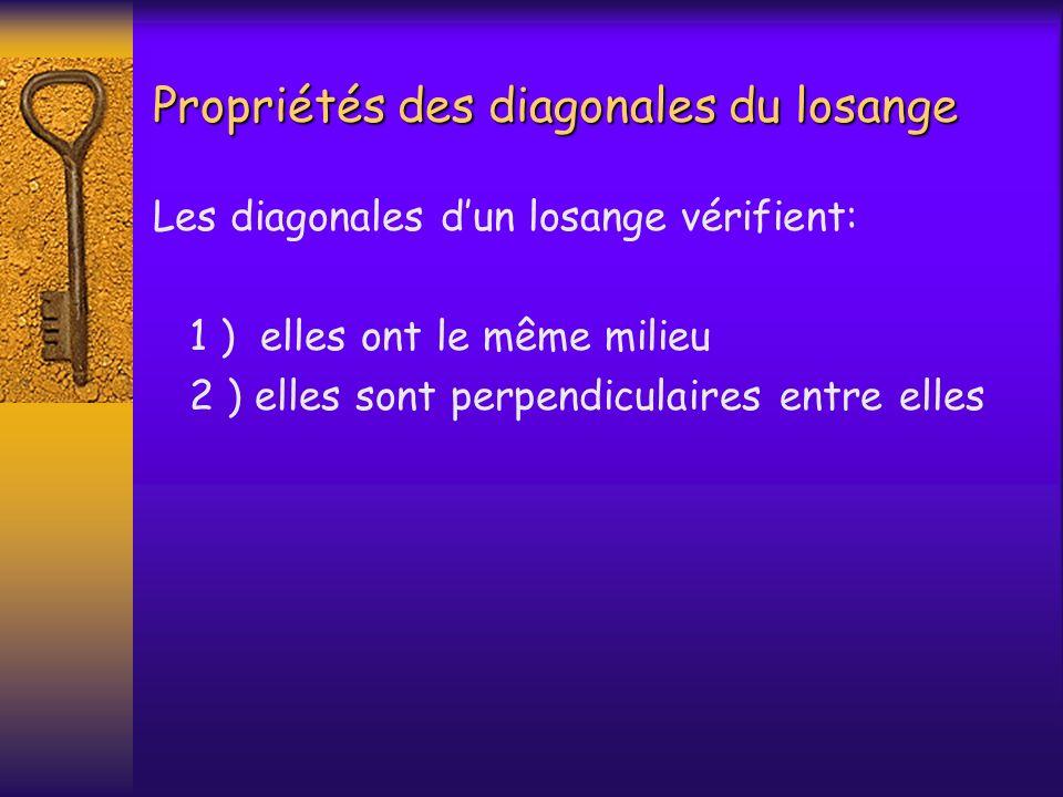 Propriétés des diagonales du losange Les diagonales dun losange vérifient: 1 ) elles ont le même milieu 2 ) elles sont perpendiculaires entre elles