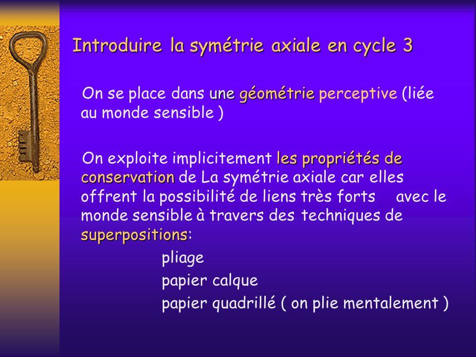 Introduire la symétrie axiale en cycle 3 une géométrie On se place dans une géométrie perceptive (liée au monde sensible ) les propriétés de conservat