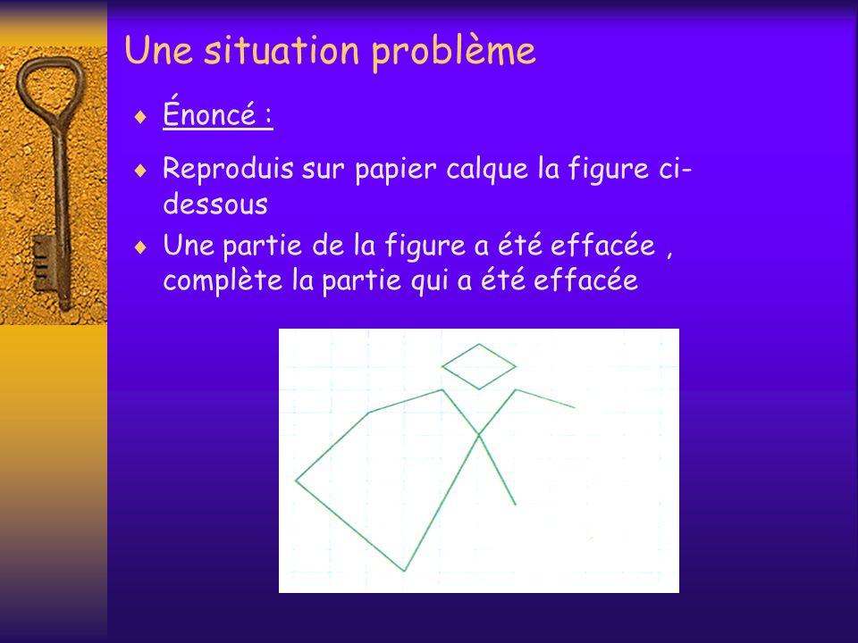 Une situation problème Énoncé : Reproduis sur papier calque la figure ci- dessous Une partie de la figure a été effacée, complète la partie qui a été