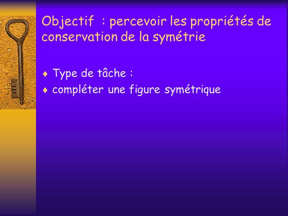 Objectif : percevoir les propriétés de conservation de la symétrie Type de tâche : compléter une figure symétrique