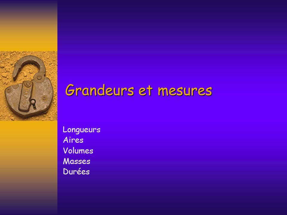 Grandeurs et mesures Longueurs Aires Volumes Masses Durées